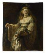 Saskia Van Uylenburgh In Arcadian Costume  Fleece Blanket