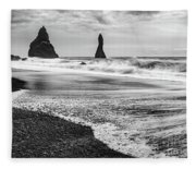 The Dramatic Black Sand Beach Of Reynisfjara. Fleece Blanket