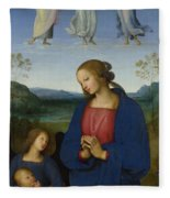 The Virgin And Child With An Angel  Fleece Blanket