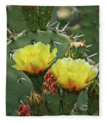 Yellow Prickly Pear Flowers Fleece Blanket