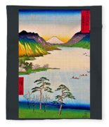 36 Views Of Mt.fuji - Shinshu Suwa Lake Fleece Blanket