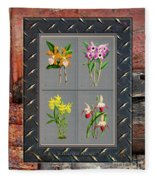 Orchids Antique Quadro Weathered Plank Rusty Metal Fleece Blanket