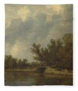 A River Landscape With Fishermen  Fleece Blanket
