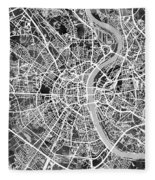 Cologne Germany City Map Fleece Blanket