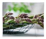 Fresh Green Asparagus Fleece Blanket