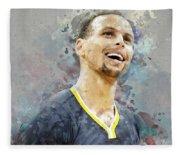 Portrait Of Stephen Curry Fleece Blanket
