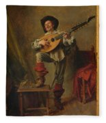 Soldier Playing The Theorbo  Fleece Blanket