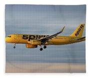 Spirit Airlines Airbus A320-232 Fleece Blanket