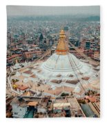 Stupa Temple Bodhnath Kathmandu, Nepal From Air October 12 2018 Fleece Blanket by Raimond Klavins