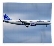 Jetblue Airways Embraer Erj-190ar Fleece Blanket