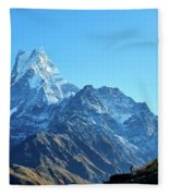 Machapuchare Mountain Fishtail In Himalayas Range Nepal Fleece Blanket by Raimond Klavins