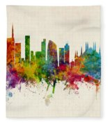 Milan Italy Skyline Fleece Blanket
