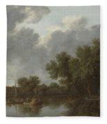 River Scene  Fleece Blanket
