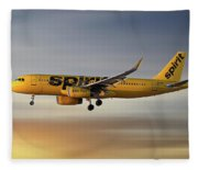 Spirit Airlines Airbus A320-232 Fleece Blanket