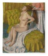 Woman Having Her Hair Combed  Fleece Blanket