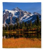 Autumn Colors With Mount Shuksan Fleece Blanket