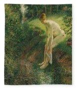 Bather In The Woods  Fleece Blanket