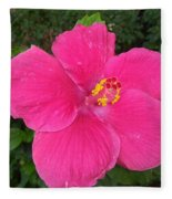 Bright Pink Hibiscus Fleece Blanket