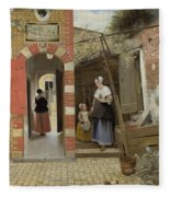 The Courtyard Of A House In Delft  Fleece Blanket