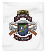 75th Ranger Regiment - Army Rangers Special Edition Over White Leather Fleece Blanket