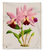 Orchid Vintage Print On Colored Paperboard Fleece Blanket
