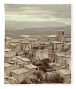 Beautiful Medieval Spanish Village In Sepia Tone Fleece Blanket