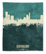 Birmingham England Skyline Fleece Blanket