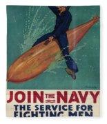 Wartime Propaganda Poster Fleece Blanket