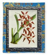 Orchid Framed On Weathered Plank And Rusty Metal Fleece Blanket