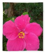 Bright Pink Hibiscus Fleece Blanket