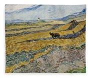 Enclosed Field With Ploughman -  Fleece Blanket