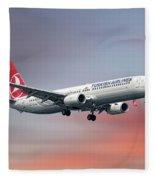 Turkish Airlines Boeing 737-9f2 Fleece Blanket