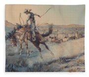 A Bucking Bronco, Edward Borein Fleece Blanket