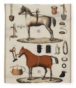 A Chromolithograph Of Horses With Antique Horseback Riding Equipments   1890  Fleece Blanket