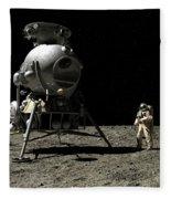 A Cosmonaut On The Moon Fleece Blanket