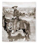 A Cowboy On Horseback, Photo, 19th Century Fleece Blanket