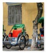 A Cyclo Driver Takes A Nap, In Hoi An, Vietnam. Fleece Blanket