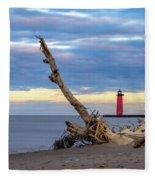 A Drifting Sunset Fleece Blanket by Steven Santamour