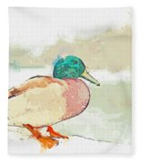 A Migrating Loon, Oslo, Norway -  Watercolor By Adam Asar Fleece Blanket