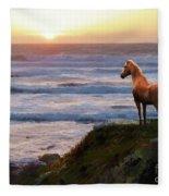 A Palomino Sunset Fleece Blanket by Melinda Hughes-Berland