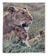 A Quiet Moment Lioness And Lion Cubs Fleece Blanket by Alan M Hunt