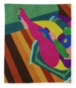 A Woman In A Chair Fleece Blanket