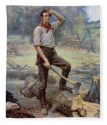 Abe Lincoln The Rail Splitter  Fleece Blanket