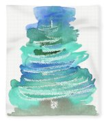 Abstract Fir Tree Christmas Watercolor Painting Fleece Blanket
