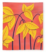 Abstract Flowers Geometric Art In Vibrant Coral And Yellow  Fleece Blanket