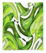 Abstract Waves Painting 0010081 Fleece Blanket