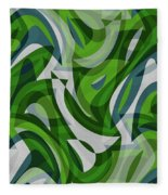 Abstract Waves Painting 0010087 Fleece Blanket