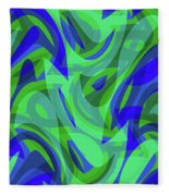 Abstract Waves Painting 0010094 Fleece Blanket