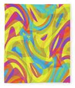 Abstract Waves Painting 0010109 Fleece Blanket