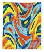 Abstract Waves Painting 007176 Fleece Blanket